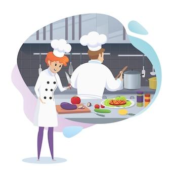 Il cuoco della ragazza taglia gli ingredienti per il piatto contro