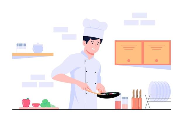 Il cuoco unico maschio sta cucinando nell'illustrazione piana di concetto della cucina