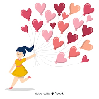 Il cuore della tenuta della ragazza balloons la priorità bassa