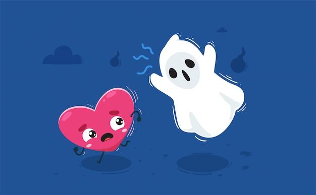 Il cuore è perseguitato da un fantasma. illustrazione isolata