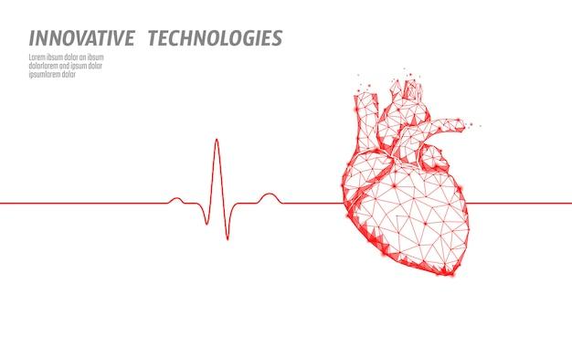 Il cuore umano in buona salute batte il modello di medicina 3d in basso poli. i punti collegati al triangolo si illuminano di rosso. la tecnologia innovativa di forma anatomica moderna del corpo interno di impulso rende l'illustrazione di vettore