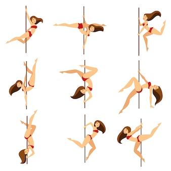 Il dancing del ballerino del palo della donna posa sull'insieme isolato fumetto di vettore del palo