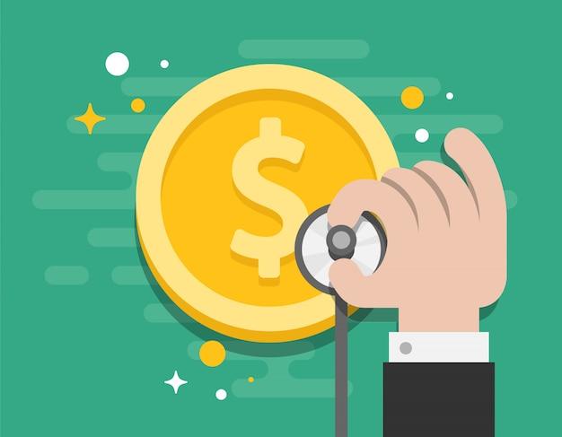 Il denaro consultato di affari controlla il vettore dell'illustratore