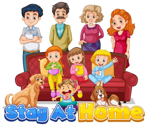 Il design dei caratteri per le parole resta a casa con i familiari felici