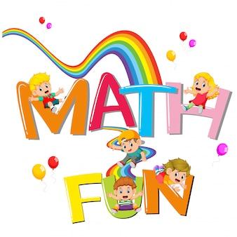 Il design dei font per la matematica delle parole è divertente con i bambini che scivolano sull'arcobaleno
