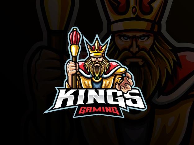 Il design del logo sportivo della mascotte del re