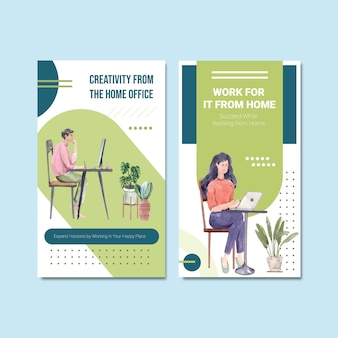Il design del modello instagram con le persone sta lavorando da casa. illustrazione di vettore dell'acquerello di concetto del ministero degli interni