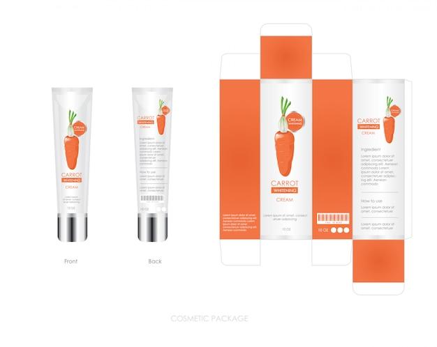Il design del pacchetto cosmetico delle carote include scatola e bottiglia