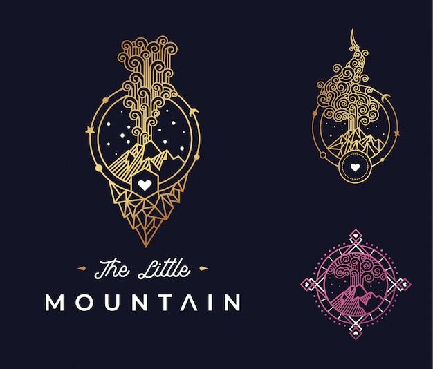 Il design del piccolo logo di montagna