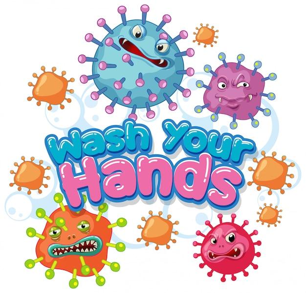 Il design del poster di coronavirus con la parola lava le mani