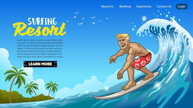 Il design della pagina di destinazione dell'uomo del surfista muscolare gioca a surf