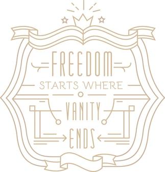 Il design leggero con citazione in stile lineare con libertà inizia dove finisce aggiungi descrizione