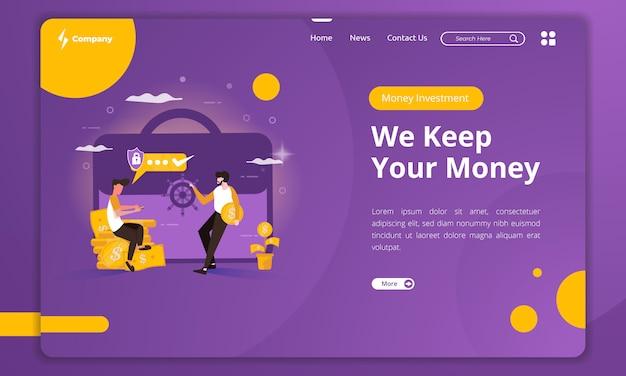 Il design piatto mantiene i soldi al sicuro sul modello di landing page