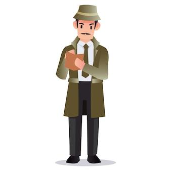 Il detective professionista detiene un libro per prendere appunti molte prove