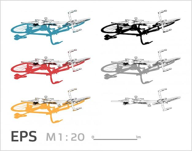 Il disegno della bicicletta ha messo sui colori differenti, vista superiore