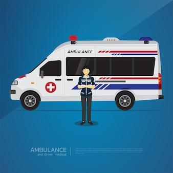Il disegno medico dell'ambulanza e dell'autista del furgone.