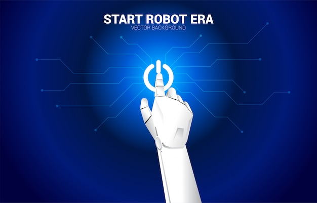 Il dito del robot tocca l'icona del motore di avvio. inizio concetto dell'era della machine learning ai.