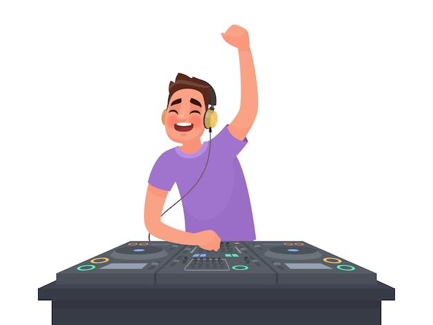 Il dj suona musica alla piattaforma girevole sull'illustrazione bianca
