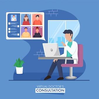 Il dottore anonimo che prende video chiamata alla gente o al personale medico dal computer portatile per consultazione virtuale.