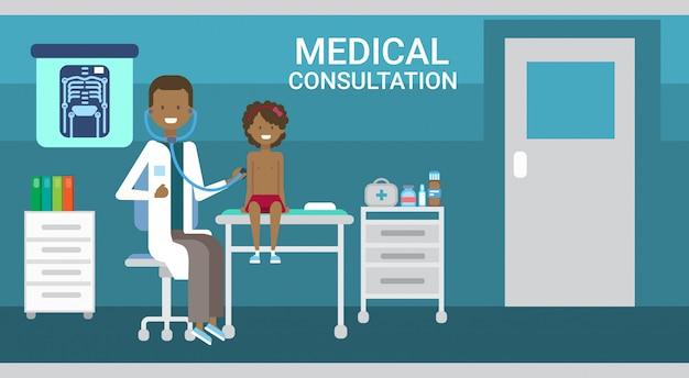 Il dottore examining patient medical consultation cliniche di assistenza sanitaria banner di servizio ospedaliero
