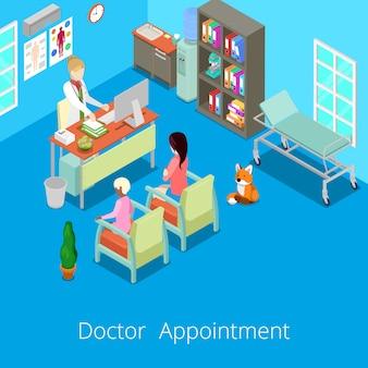 Il dottore interno isometrico appointment interno del gabinetto medico con il paziente.