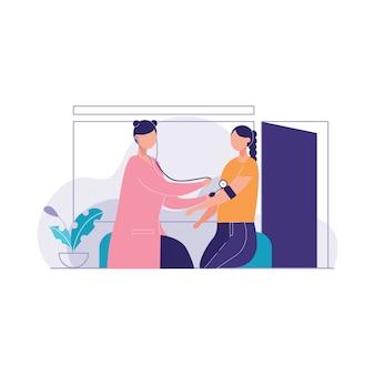 Il dottore medical coat sta provando l'illustrazione di vettore di preasure del sangue paziente
