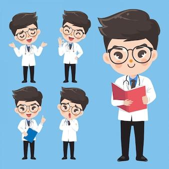 Il dottore mostra varie emozioni e gesti.