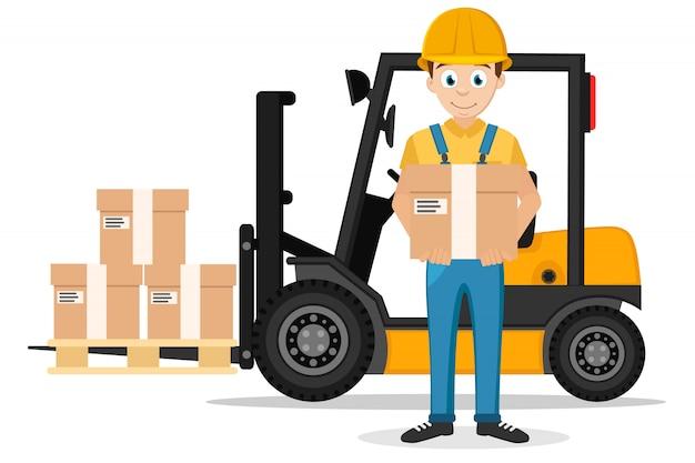 Il driver sta con una scatola in mano e un carrello elevatore con un carico su un bianco.