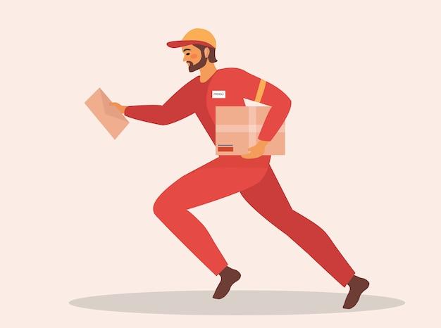 Il fattorino corre e tiene la scatola e la lettera in uniforme rossa. il servizio di consegna è veloce. illustrazione