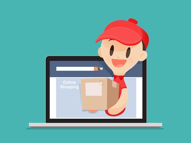 Il fattorino del fumetto porta una merce ad un cliente dal computer portatile, illustrazione vettoriale, concetto con lo shopping online e servizi.