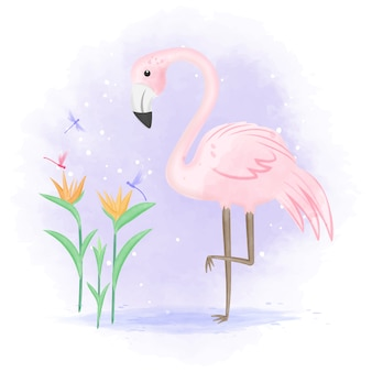 Il fenicottero con la libellula e l'uccello del paradiso fioriscono l'illustrazione