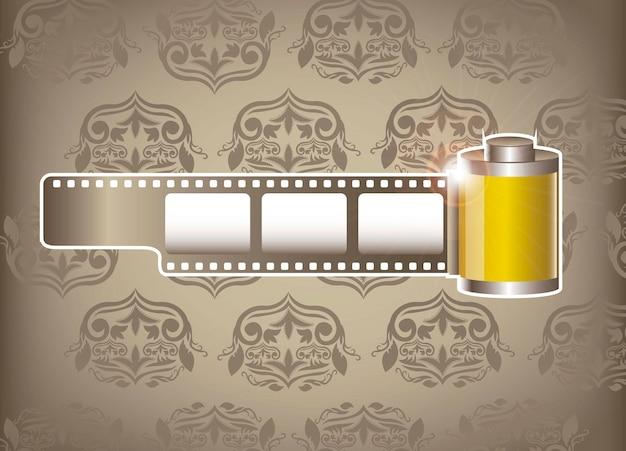 Il film della fotocamera rotola su sfondo di ornamento