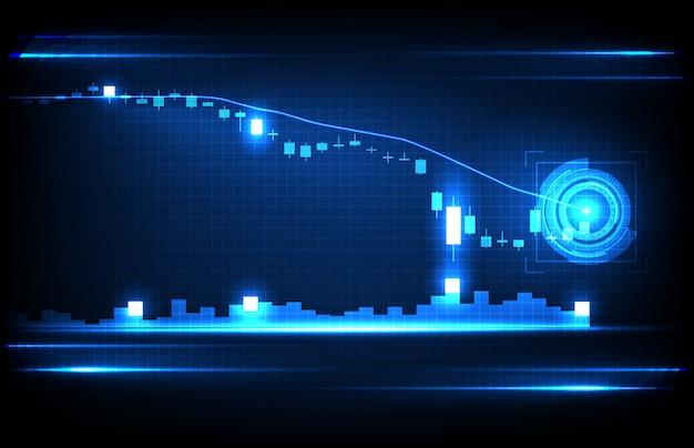 Il fondo astratto della crisi economica giù grafico del mercato azionario