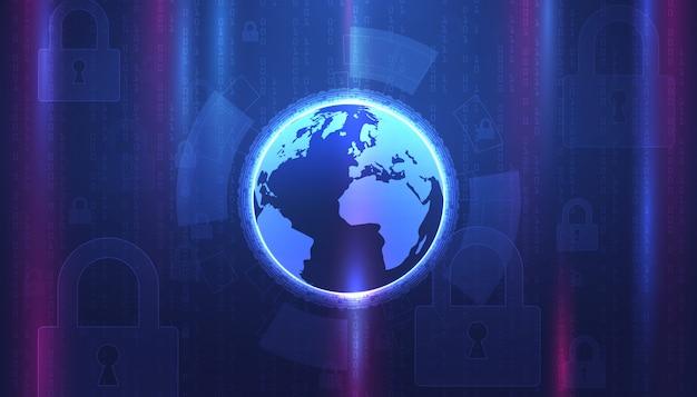 Il fondo astratto della tecnologia protegge il concetto digitale cyber della sicurezza dell'innovazione di sistema. protezione dei dati personali. .