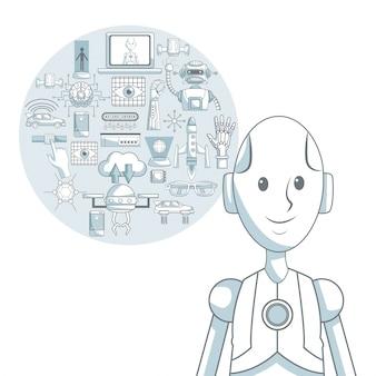 Il fondo bianco con ombreggiatura delle sezioni di colore della siluetta del robot del primo piano e ha messo gli elementi futuristici nel telaio circolare