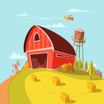 Il fondo del fumetto del fabbricato agricolo con i campi grano e fieno vector l'illustrazione