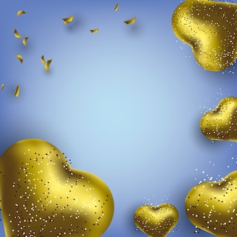 Il fondo della cartolina d'auguri di buon compleanno con il cuore dorato dei palloni ha modellato