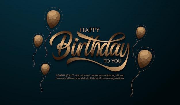 Il fondo di compleanno con cristallizza la lettera e l'aerostato