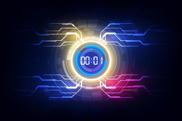 Il fondo futuristico astratto della tecnologia con il concetto del temporizzatore di numero di digital e il conto alla rovescia, vector trasparente