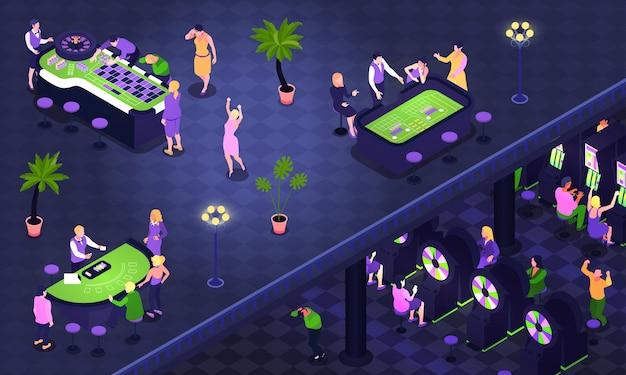 Il fondo isometrico con la gente che gioca il poker delle roulette craps nell'illustrazione del casinò 3d