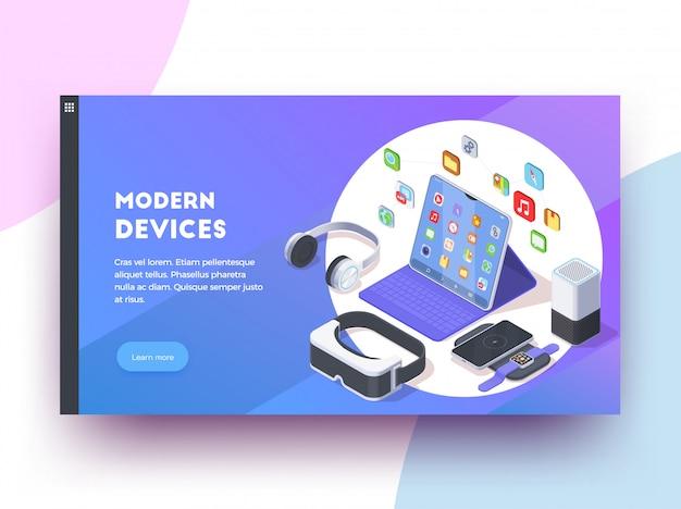 Il fondo isoometrico di progettazione della pagina web dei dispositivi moderni con cliccabile impara più testo del bottone e l'illustrazione variopinta delle immagini