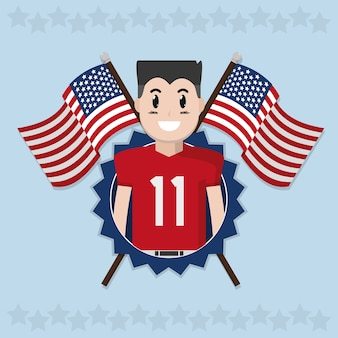 Il football americano sopra le bandiere degli sua ha attraversato