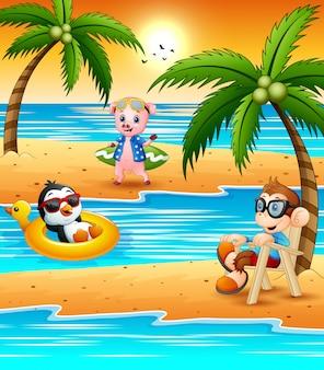 Il fumetto animale differente si rilassa sulla spiaggia