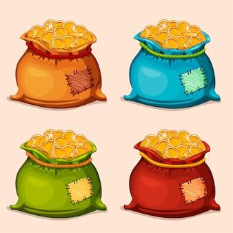 Il fumetto colora il sacchetto pieno di monete d'oro