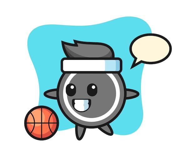 Il fumetto del disco da hockey sta giocando a pallacanestro