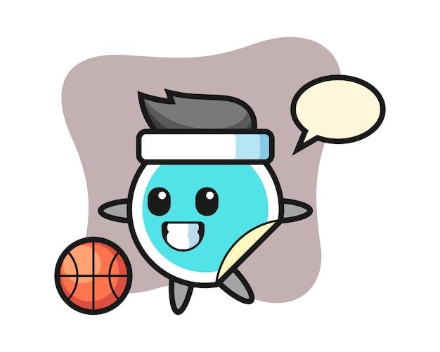 Il fumetto dell'autoadesivo sta giocando a pallacanestro