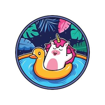 Il fumetto dell'unicorno si rilassa sulla spiaggia