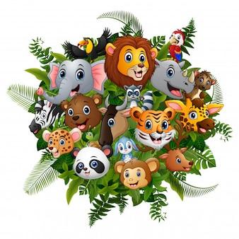 Il fumetto della foresta degli animali si incontra insieme