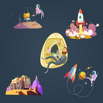 Il fumetto dello spazio ha messo con il cosmonauta dell'astronave e l'illustrazione di vettore isolata pianeta
