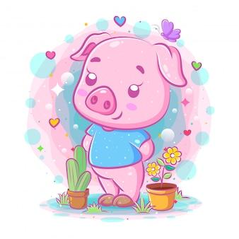 Il fumetto di maiale viola si trova vicino ai fiori dell'illustrazione